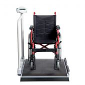 Digital Wheelchair Scales with Handrail and Transport Castors