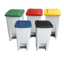 60 Litre Waste Pedal Bin - White/Coloured lid