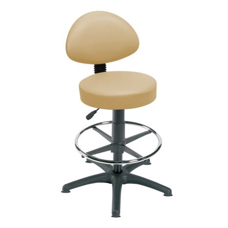 High Level Gas Lift Stool with Back Rest, Foot Ring and Glides