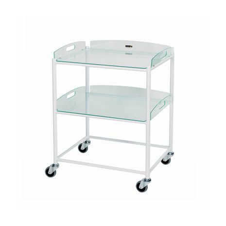 Dressing Trolley with 2 Glass Effect Safety Trays - Small (DT4)